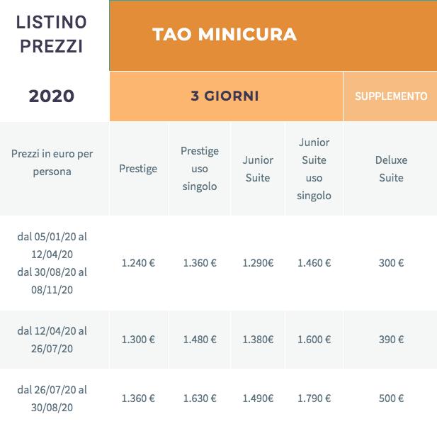 Listino camere centro tao - percorso Minicura 3 giorni-2020